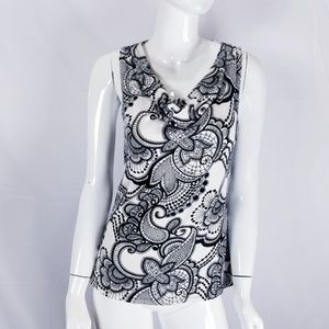 Cache Knit Top Cowl Neck Blouse Paisley Print